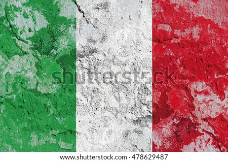 The Italy flag painted on grunge wall