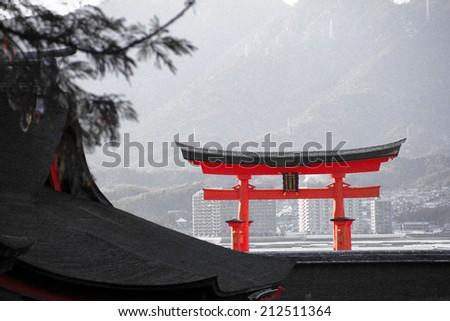 """The Itsukushima """"Floating"""" ; Torii Gate of Miyajima, Japan - stock photo"""
