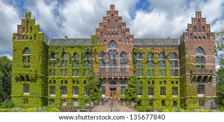 The ivy covered university library in the Swedish city of Lund. - stock photo