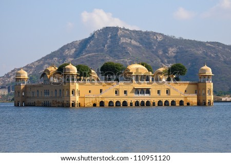 The Jal Mahal Water Palace located in Mansagar Lake in Jaipur, India. - stock photo
