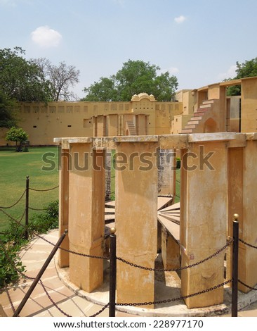 the Jantar Mantar, a collection of architectural astronomic instruments in jaipur (Rajasthan, India)
