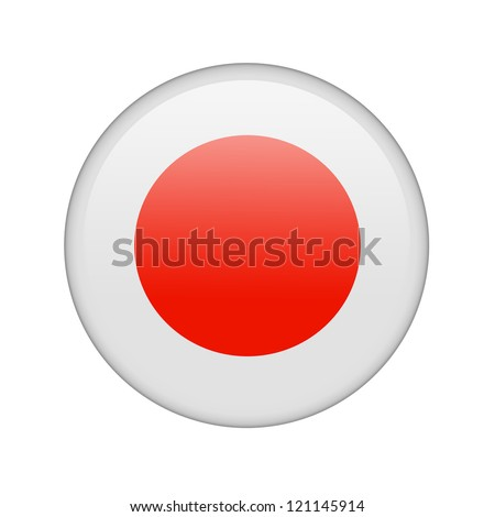 The Japan flag in the form of a glossy icon. - stock photo