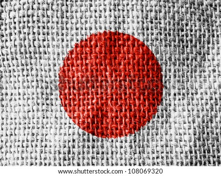 The Japan flag painted on fabric surface - stock photo