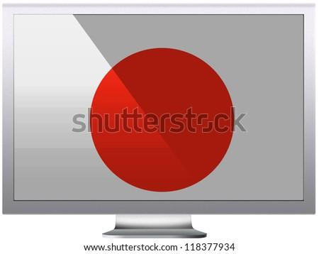 The Japan flag painted on  grey aluminum monitor - stock photo