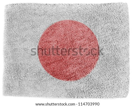 The Japan flag painted on  grey towel - stock photo
