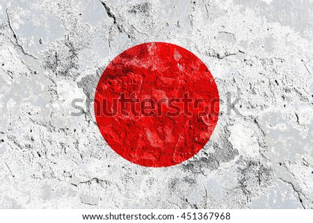 The Japan flag painted on grunge wall
