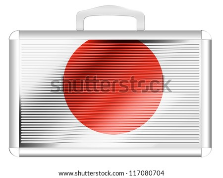 The Japan flag painted on  metal aluminum case - stock photo