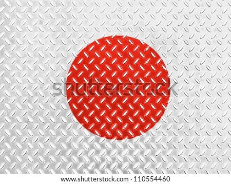 The Japan flag painted on  metal floor - stock photo