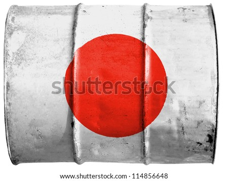 The Japan flag painted on  oil barrel - stock photo