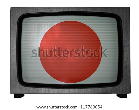 The Japan flag painted on  old TV - stock photo