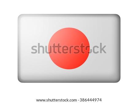 The Japan flag. Rectangular matte icon. Isolated on white background. - stock photo