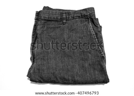 The jeans short leg folded; Isolated; Black and white