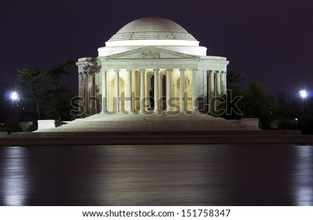The Jefferson Memorial at night, Washington DC, USA.