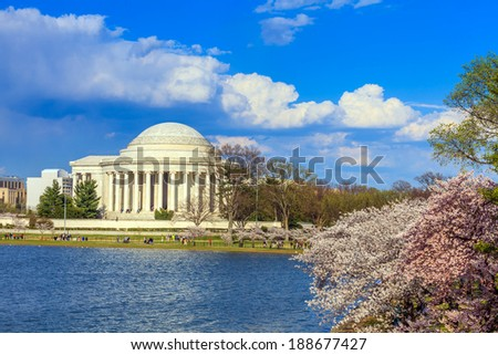 the Jefferson Memorial during the Cherry Blossom Festival. Washington, DC USA