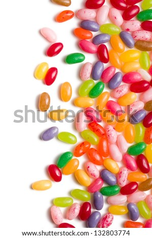 the jelly beans border on white background - stock photo