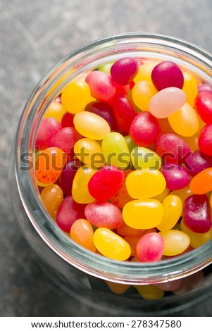 the jelly beans in jar - stock photo
