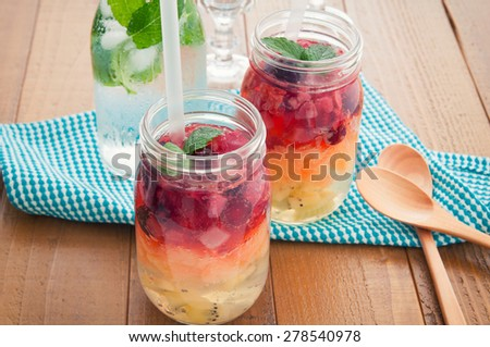 The jelly which is in the mason jar - stock photo