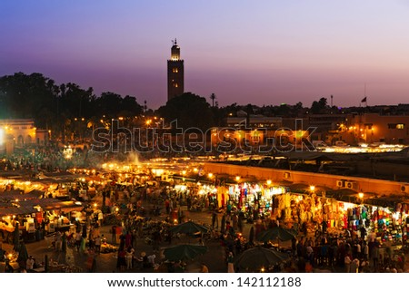 The Jemaa el Fna squre in Marrakesh, Morocco - stock photo