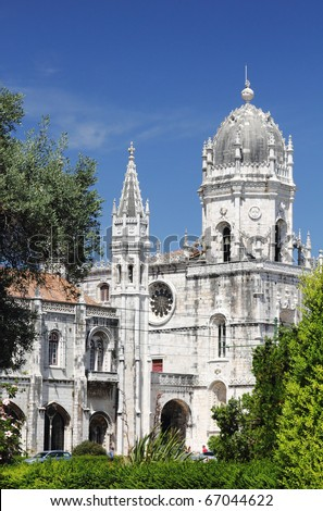 The Jeronimos Monastery is one of the most prominent monuments of Lisbon. Shooted from the park in front of the monument.