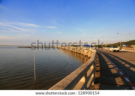 The jetty at Tha Ruea Phli Fishing, Munag, Chonburi, Thailand.