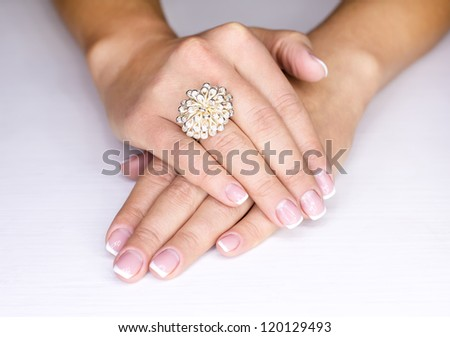 The jewelry on female finger