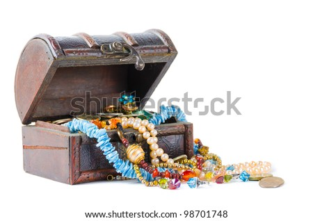 The jewels in the chest on a white background - stock photo