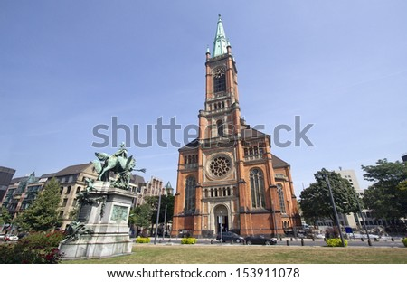The Johannes Church on the Martin Luther platz in Dusseldorf, Germany - stock photo