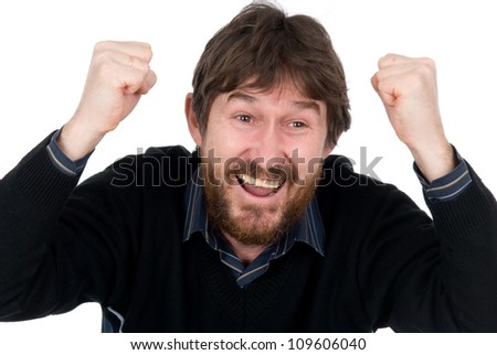 The joyful bearded man with hands fisted.Isolated on white background - stock photo