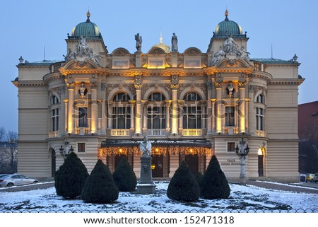 The Juliusza Slowacki Theater in the Old Town district of Krakow in Poland. Built from 1891, opened in 1893. - stock photo