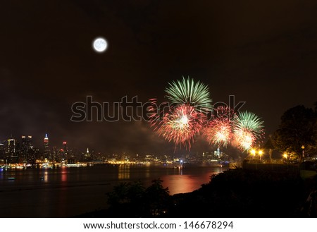 The July 4th firework over Hudson River in New York City - stock photo