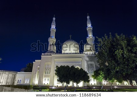 The Jumeirah Mosque in Dubai UAE - stock photo