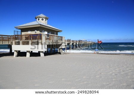 The Juno Beach fishing pier in South Florida near West Palm Beach - stock photo