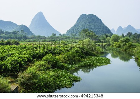 The karst mountains and rural scenery