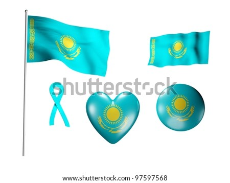 The Kazakhstan flag - set of icons and flags on white background - stock photo