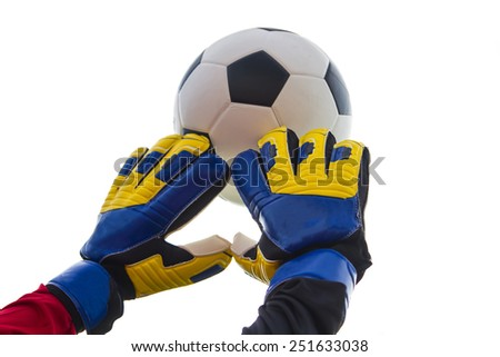 The keeper makes a ball on a white background. - stock photo
