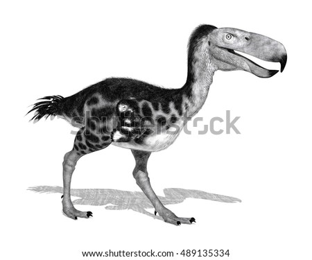 The Kelenken was a giant flightless predatory bird that lived 15 million years ago - 3D render. Special shaders were used to create the appearance of a pencil drawing.