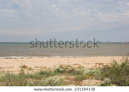 The Kerch Strait connecting the Black and Azov seas - stock photo