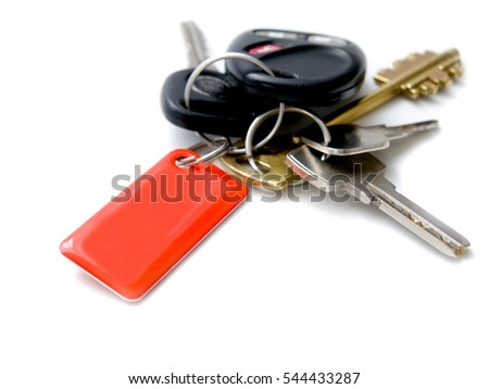 the key for the house and car isolated on white background