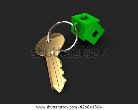 The key from apartment with green trinket in form house - stock photo