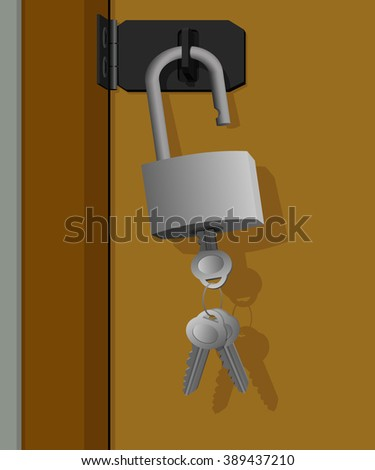 The key is left in an open lock, hanging on the door  - stock photo