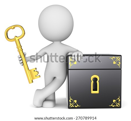 The key keeper. The dude 3D character holding Golden Key to Closed Box. - stock photo