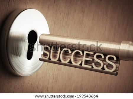 The key of success close to open the door. - stock photo
