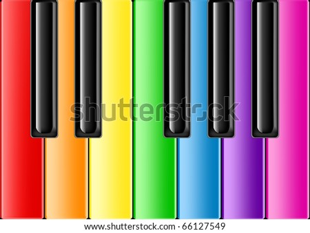 The keyboard of the classical piano with rainbow keys - stock photo