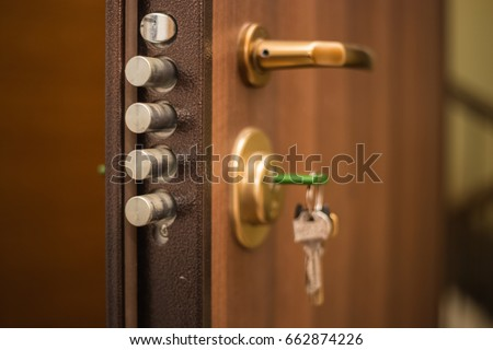 The keys in the lock of the door on the outside safety locked & Keys Lock Door On Outside Safety Stock Photo (Download Now ...