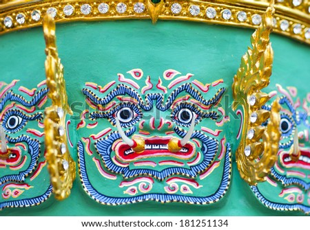 the Khon Masks of the oldest of the Sanskrit epic poems for sell - stock photo