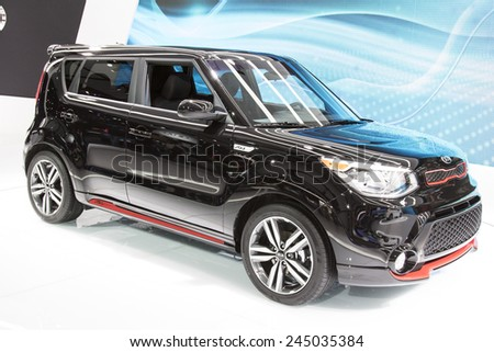 The 2015 Kia Soul at The North American International Auto Show January 13, 2015 in Detroit, Michigan. - stock photo