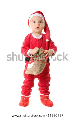 The kid in clothes of Santa Claus