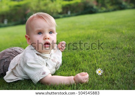 The kid on a grass with a camomile