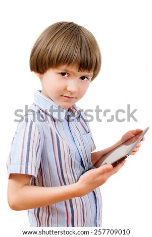 the kid with tablet computer - stock photo