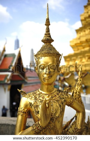 The Kinaree also spelled Kinari or Ginnaree,is a mythological creature, half human,half-bird which inhabits the mythical Himapan Forest described in the epic story by that name.Wat Phra Kaew,Thailand  - stock photo